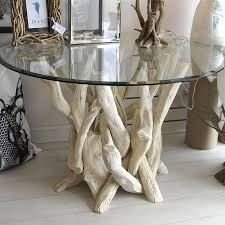 driftwood round dining table with or without glass top driftwood