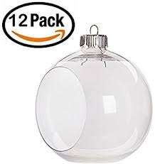 set of 12 fillable clear plastic jar ornaments home