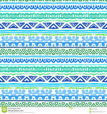Blue Shades Striped Ethnic Pattern In Vibrant Blue And Green Royalty Free