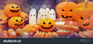 healthy vegetarian halloween decoration mix carrot stock photo