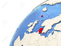 Map Of Denmark Map Of Denmark On Simple Political Globe With Watery Blue Oceans