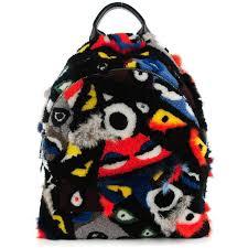 designer outlet mã nster fendi shearling patchwork backpack black multicolor