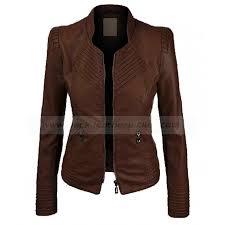 Dark Brown Faux Leather Jacket Womens Biker Jacket