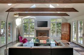 Living Room Ceiling Beams Sizing It How To Decorate A Home With High Ceilings