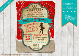 hoedown a cowgirl western birthday party invitation red