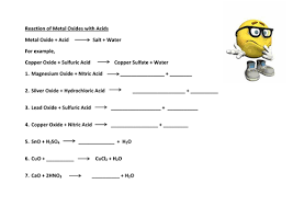 reaction metals carbonates oxides acid worksheet by gerwynb