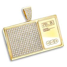 custom pendant custom jewelry 10k gold diamond digital scale mens pendant 4ct
