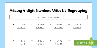 no regrouping adding 4 digit numbers no carrying adding 4