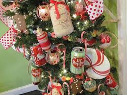 kitchen tree decorated with coke and dr pepper cans right up our