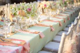 wedding reception table table setting for an wedding reception stock photo picture and