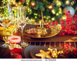 New Year Dinner Table Decoration by Christmas Eve Dinner Party Table Setting Stock Photo 164789381