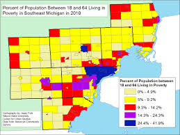 Michigan County Map With Cities by Poverty 2010 Semcog Mdc 18to64 Jpeg Jpg
