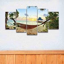 posters for home decor 2018 5 panel canvas art painting sea waves beach sunset seascape