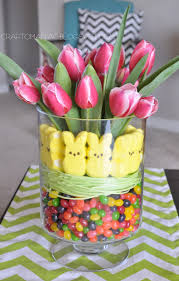 Easter Table Decorations With Peeps by Cute Peep U0026 Tulip Centerpiece Easter Decor Pinterest Peeps