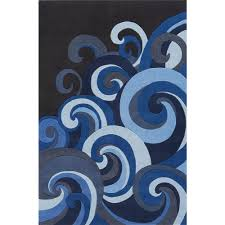 Blue Wave Rug Material Acrylic Goingrugs