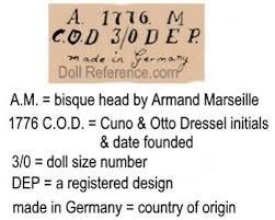 doll makers labels marks symbol images menu