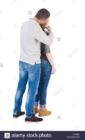 Free Hug Guy Back View Of Young Embracing Couple Man And Woman Hug And Look