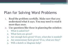 chapter 1 lesson 8 objective use a five step plan to solve word