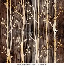 Rustic Wood Interior Walls Abstract Decorative Trees Alley Interior Wall Stock Illustration