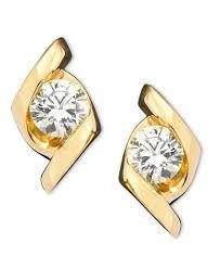 gold diamond earrings sirena earrings 14k gold diamond stud 1 3 ct t w earrings
