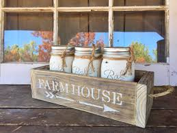farmhouse reclaimed wood crate with handles and 3 painted