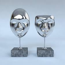 Silver Decorative Accessories Decorative Accessories 2 Masks On Stands 3d Model Max Obj 3ds