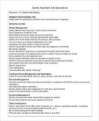 Dental Office Front Desk Duties Sample Dentist Job Description 9 Examples In Pdf