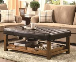 elegant brown leather storage ottoman coffee table with tufted top