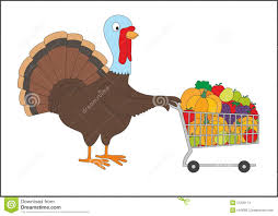 thanksgiving turkey with shopping cart stock images image