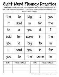 115 best sight word fluency images on pinterest kindergarten