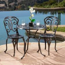 Outdoor Bistro Table Cornwall 3 Piece Cast Aluminum Outdoor Bistro Set By Christopher
