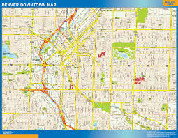 Usa Wall Map by Denver Downtown Map Netmaps Usa Wall Maps Shop Online