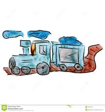 watercolor train blue cartoon drawing isolated on stock