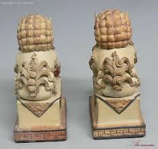 lion foo dog feng shui fu foo dog lions ceramic statue figurine pair