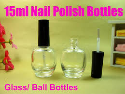 2017 15ml clear ball nail polish oil bottle cap with brush nail