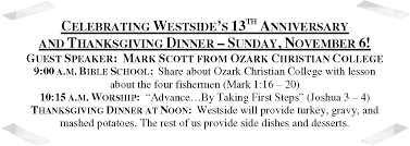 13th anniversary and thanksgiving dinner west side christian church