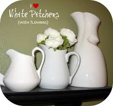 White Ceramic Pitcher Vase Peppermint Plum White Pitchers With Flowers