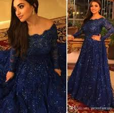 Navy Blue Lace Dress Plus Size Sparkly Vintage Evening Dresses 2017 Cheap Long Sleeves Beads