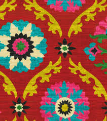 Pink Home Decor Fabric Waverly Upholstery Fabric Mayan Medallion Desert Flower Home