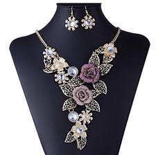 earrings with statement necklace images Luxury necklace han shi women elegant vintage flower jpg