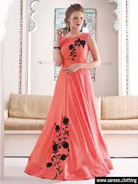 peach color silk designer anarkali salwar kameez