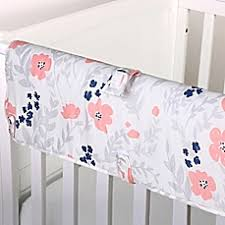 Navy And Coral Baby Bedding The Peanut Shell Floral Crib Bedding Collection In Coral Buybuy