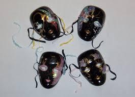 mardi gras ceramic masks vintage set of 4 black ceramic masks glittery mardi gras mask