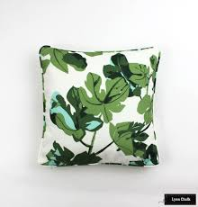 dunham fig leaf on natural linen pillows with self welting