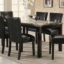 Marble Top Dining Room Table finish u0026 rectangular faux marble top modern 7pc dining set