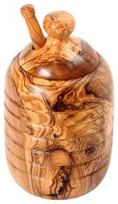 handmade olive wood large honey jar and honey dipper