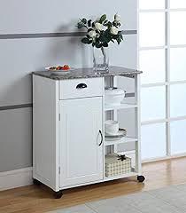 furniture kitchen storage amazon com brand white finish wood marble vinyl top