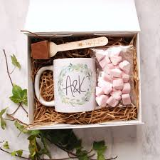 hot chocolate gift personalised monogrammed mug and hot chocolate gift set by bespoke