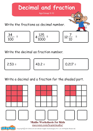 writing decimals as fractions worksheets decimal and fraction maths worksheets for mocomi