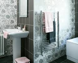 adorable flower wallpaper in bathroom ideas using vinyl wallpaper